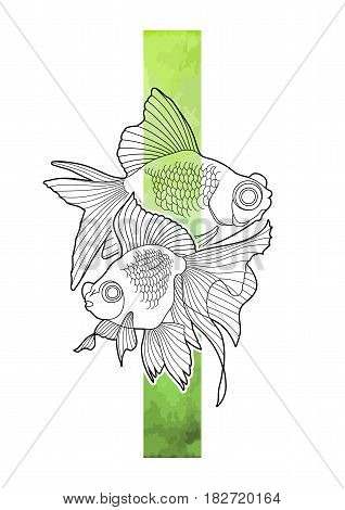 Graphic couple of telescope fish with green abstract stripe on background. Vector isolated freshwater creature. T-shirt print, tattoo design or coloring page for adults and kids