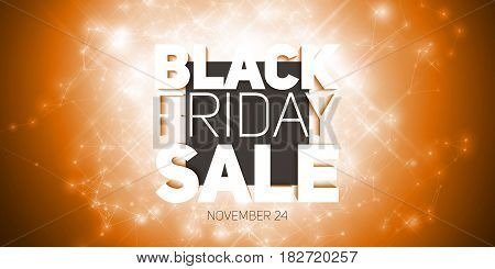 Vector Black Friday Sale background with shining blast of fireworks. Vector illustration on orange background. Abstract explosion of shining dots.