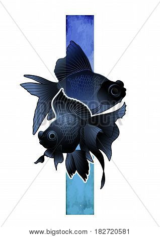 Graphic couple of telescope fish drawn with blue abstract stripe on background. Vector freshwater isolated creature. T-shirt print or tattoo design