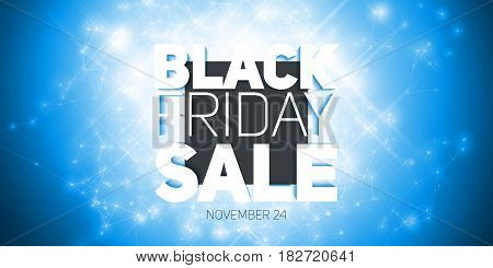 Vector Black Friday Sale background with shining blast of fireworks. Vector illustration on blue background. Abstract explosion of shining dots.