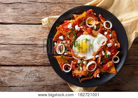 Mexican Nachos With Tomato Salsa, Chicken And Egg Close-up. Horizontal Top View