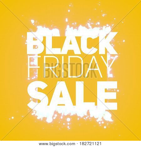Vector Black Friday Sale background with shining blast of white sparkles. Vector illustration on orange background. Abstract explosion of shining dots. Psychedelic colors.