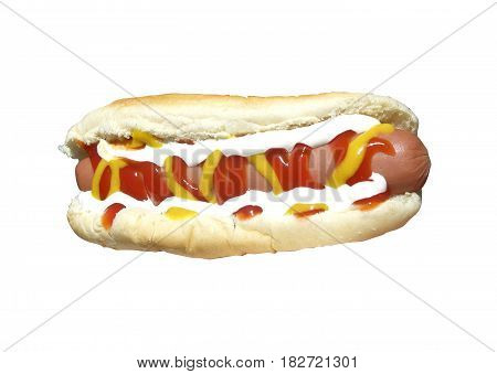 Hotdog on a bun isolated with clipping path at original size