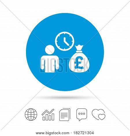 Bank loans sign icon. Get money fast symbol. Borrow money. Copy files, chat speech bubble and chart web icons. Vector