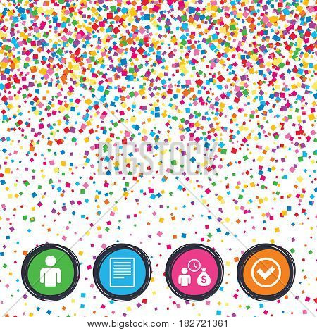 Web buttons on background of confetti. Bank loans icons. Cash money bag symbol. Apply for credit sign. Check or Tick mark. Bright stylish design. Vector