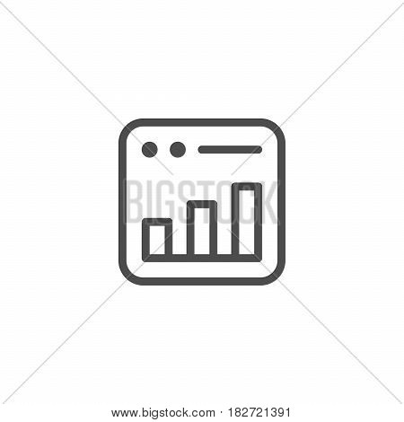 Bar graph line icon isolated on white. Vector illustration