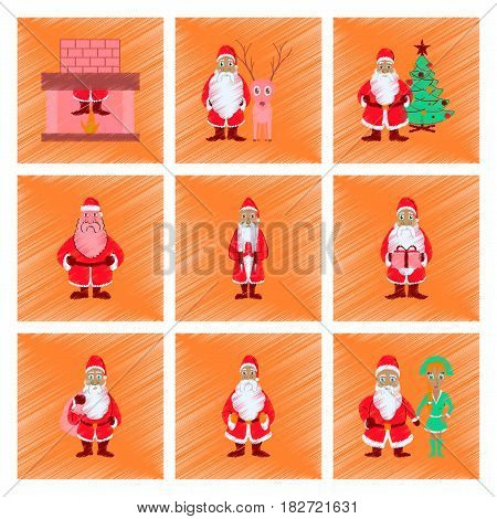 assembly of flat shading style illustration Santa Claus