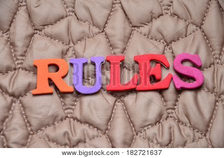 word rulles on a  abstract  colorful background