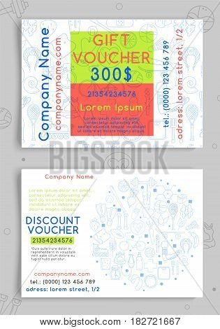 Discount and gift vouchers for a sports shop, gym or healthy food store. Vector illustration.