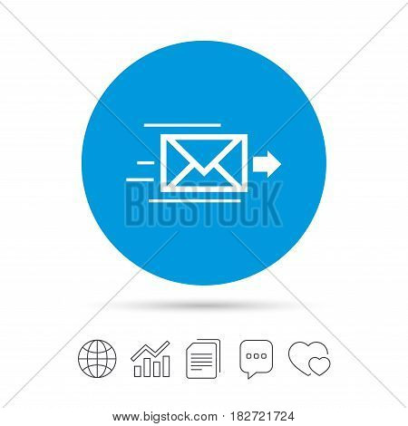 Mail delivery icon. Envelope symbol. Message sign. Mail navigation button. Copy files, chat speech bubble and chart web icons. Vector
