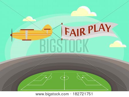 The image of an airplane flying over a football stadium with an attached banner with text fair play.Flat style Vector illustration