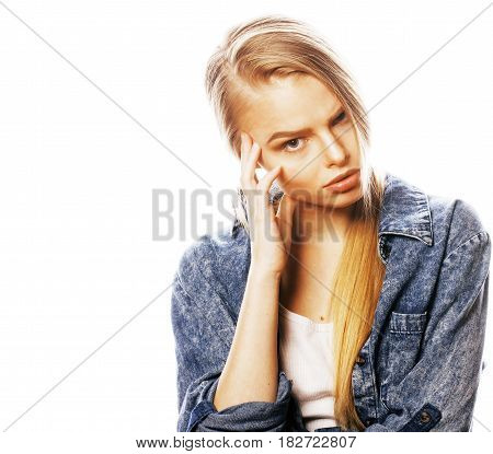 young blond real woman on white backgroung gesture thumbs up, isolated emotional posing close up