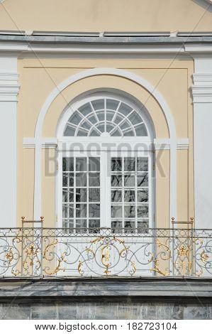 Fine church door decorated with balcony lattice