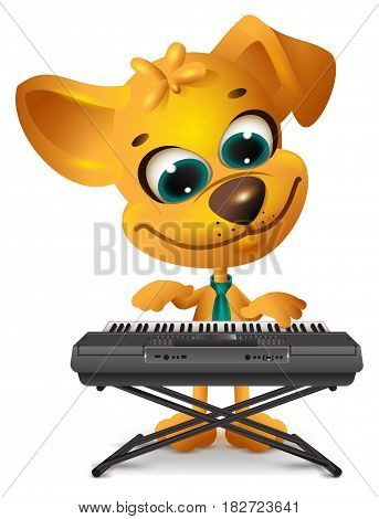 Yellow dog is playing synthesizer. Isolated on white vector cartoon illustration