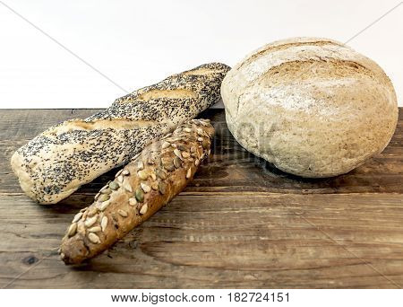 Baking dietary various bread isolated on white beckground