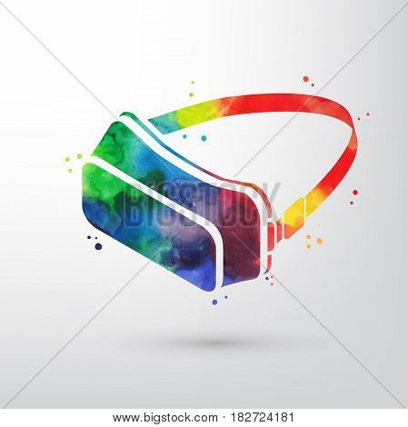 Watercolor virtual reality glasses, VR headset vector icon. Imagination or creativity consept