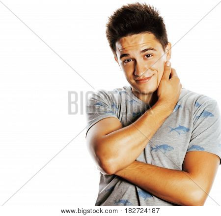 young handsome brunete man emotional posing on white background isolated realy cute lifestyle concept