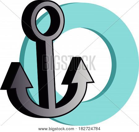 3D grey anchor with blue ring on white background. Vector illustration.