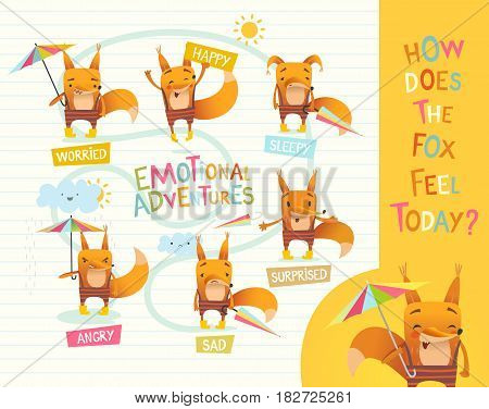 How does the fox feel today Cute cartoon animal with different mood expressions. Educational game for children. Learning handling emotions concept. Vector illustration for banner, poster, flyer