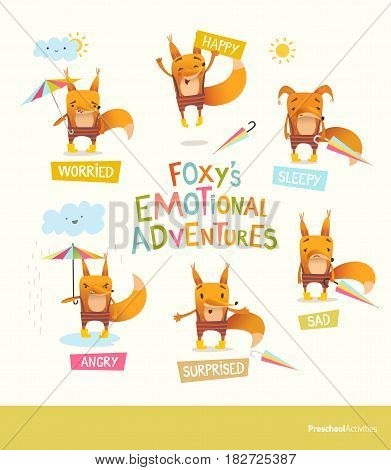 Foxy s emotional adventures. Cute cartoon fox in stripe pants expressing different feelings. Handling positive and negative emotions concept. Vector illustration for educational banner, postcard