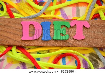 word diet on a abstract colorful background
