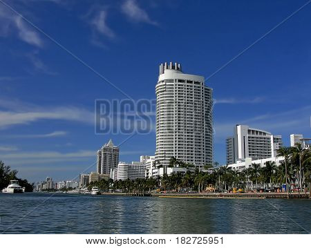City of Miami Beach seen from one of its canals