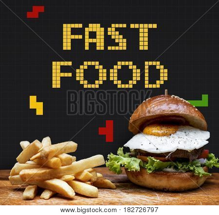 Burger and fries with 8 bit illustration of tasty menu