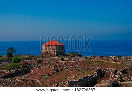 Panorama view of Ancient Byblos ruin Jubayl Lebanon