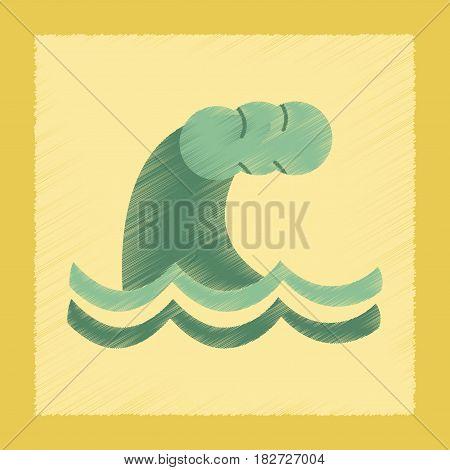 flat shading style icon nature tsunami danger