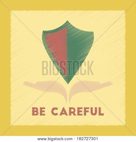 flat shading style icon nature be careful hand shield