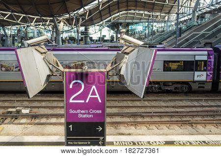 Melbourne, Australia - April 1, 2017:  Closeup Of Patform Sign 2A At Southern Cross Railway Station
