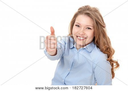 Young woman showing thumbs up. All on white background.