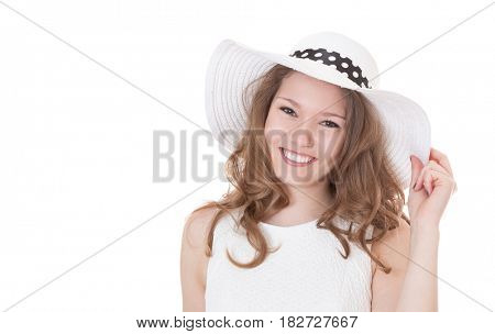 Attractive girl in white summer dress. All on white background