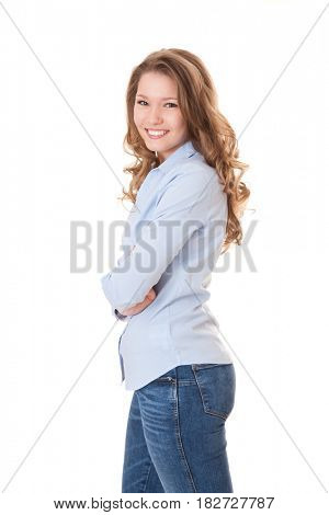 Attractive young woman. All on white background.