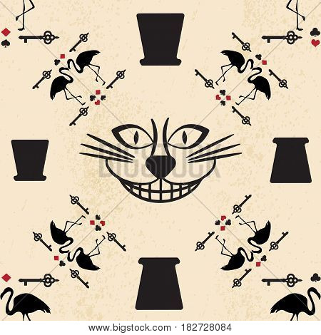 seamless pattern in the style of Alice in Wonderland. Vector background with the Cheshire cat, flamingos and playing cards.
