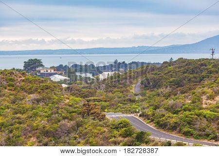 Sorrento Ocean Beach Road And Coastal Vegetation. Mornington Peninsula, Melbourne, Australia.