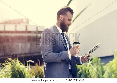 Businessmen Hands Hold Cup Read Newspaper