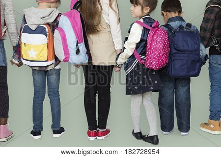 Group of students holding hand back to school