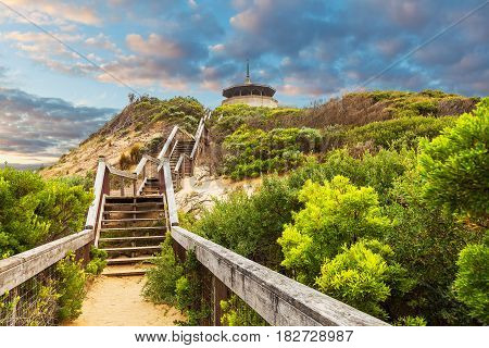 Long Wooden Stairs Leading Up To The Coppins Lookout Near Sorrento Ocean Beach. Mornington Peninsula
