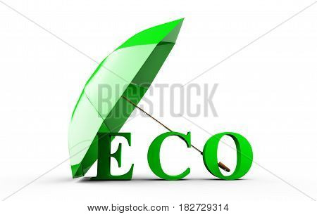 eco covered by umbrella 3D rendering isolated on white background.