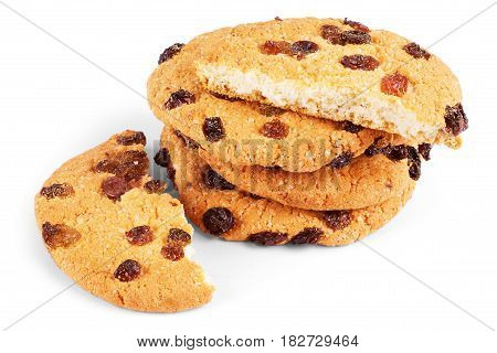 Oatmeal cookies with raisin on white background