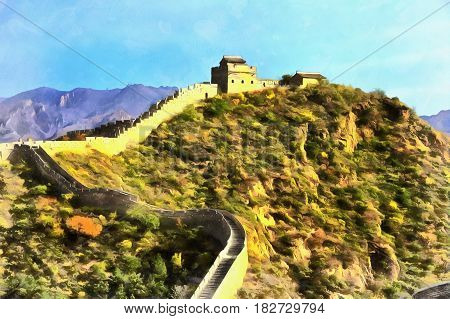 Colorful painting of Great Wall of China, Gubeikou, Miyun, China