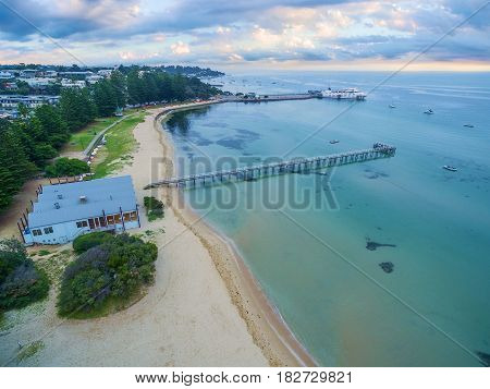 Aerial View Of Sorrento Long Pier And Moored Passenger Ferry At Dawn.  Mornington Peninsula, Melbour