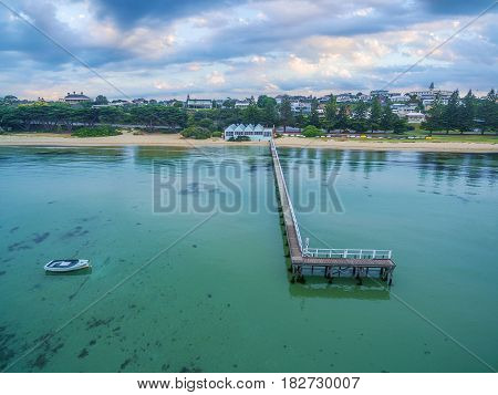 Aerial View Of Sorrento Long Pier And The Baths Restaurant At Sunrise. Mornington Peninsula, Melbour
