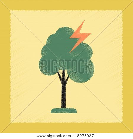 flat shading style icon nature lightning tree