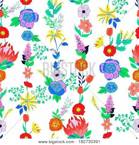 Vector rustic flowers seamless pattern. Bright spring flowers bouquet. Hand drawn vibrant flowers for wedding invitations and greeting cards. Cartoon flowers seamless background