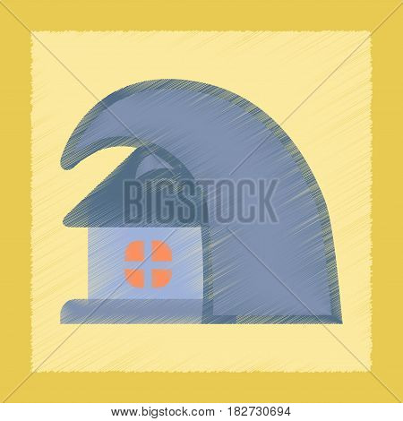 flat shading style icon nature tsunami house