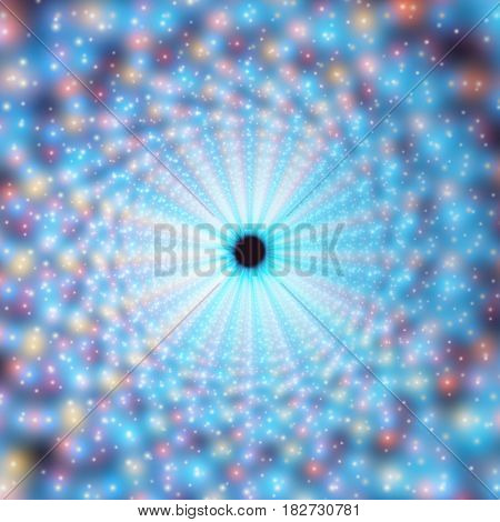 Vector infinite swirl tunnel of shining flares on background. Glowing points form tunnel sectors. Abstract cyber colorful background for your designs. Elegant modern geometric wallpaper.