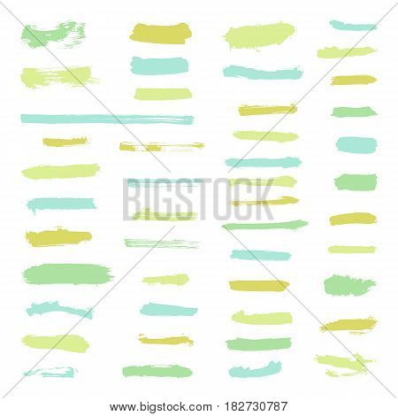 Set of grunge brush stroke. Vector hand drawn objects