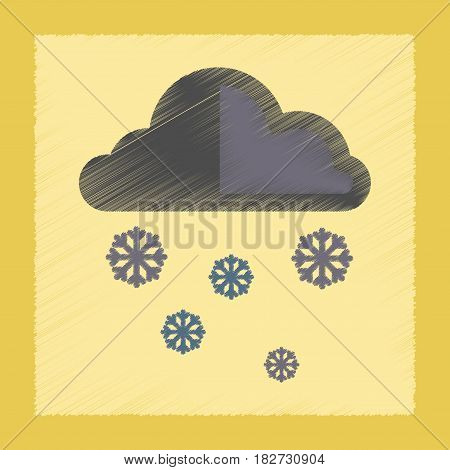 flat shading style icon nature cloud Snow